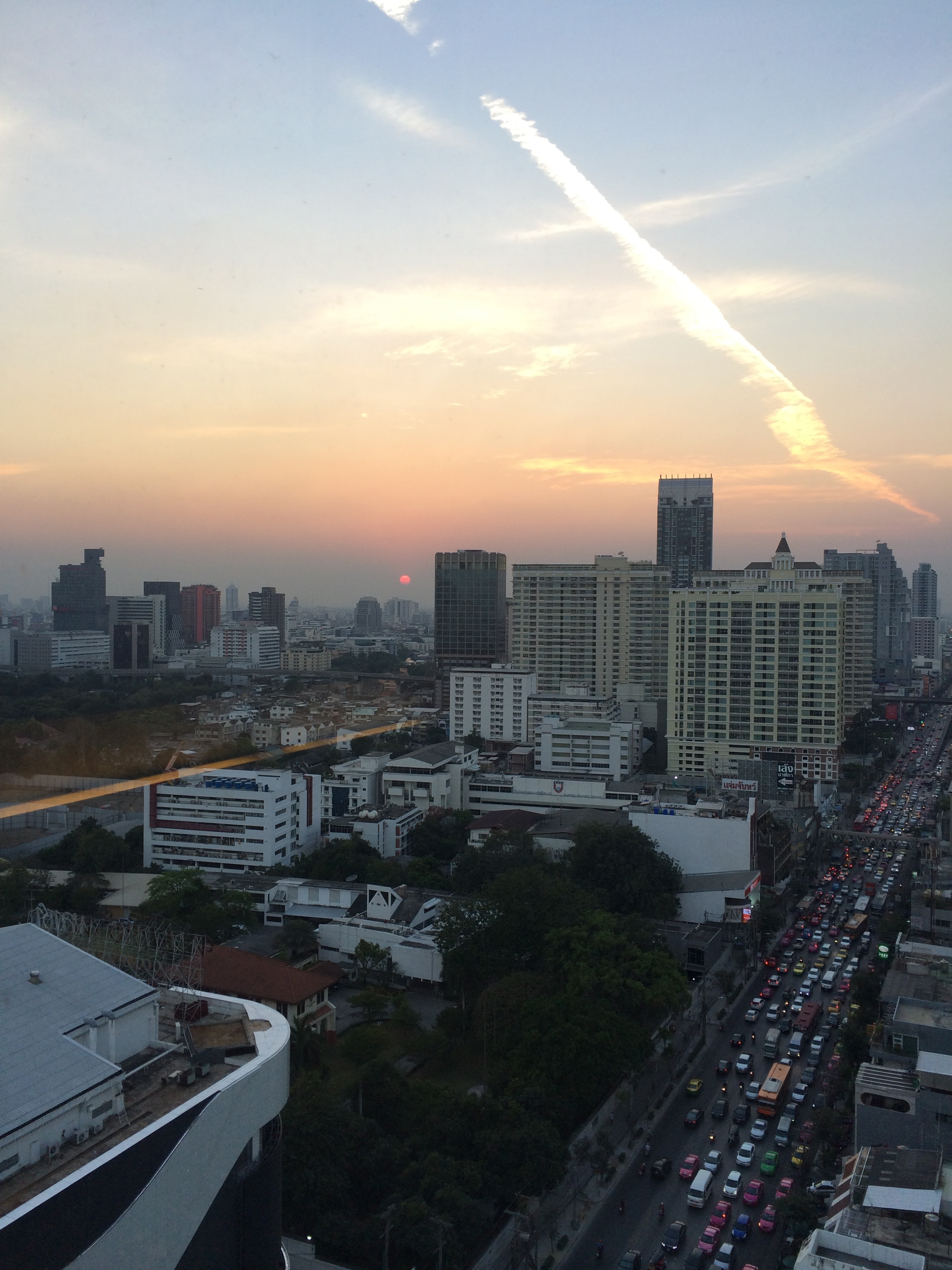 Traffic at sunset in Bangkok